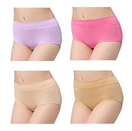 Femaroly Cotton 4 Pack Solid Color Underwear Seamless Mid-Waist Briefs for Women
