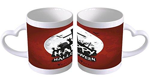 LEotiE SINCE 2004 Kaffeetasse mit Herzgriff Kaffeebecher Becher Tasse Mit Fotodruck Fototasse Retro Happy Halloween Herz Griff