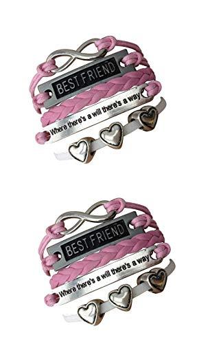 Imagen de strass & paillettes lote de dos pulseras best friend rosa 3 corazón. pulsera bf cita y enlace plata infinita. regalo de mejor amigo