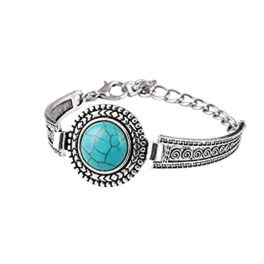 Xiang Womens Retro Round Bracelet Clouds Flowers Turquoise Bracelet Womens Accessories