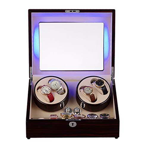 uhrenbeweger fur automatikuhren für 4 Uhren, Box Holzuhren Aufbewahrungskoffer Uhr Rotator Box Watch Winders, 5 Modi Drehungs-Schaukarton-Kasten