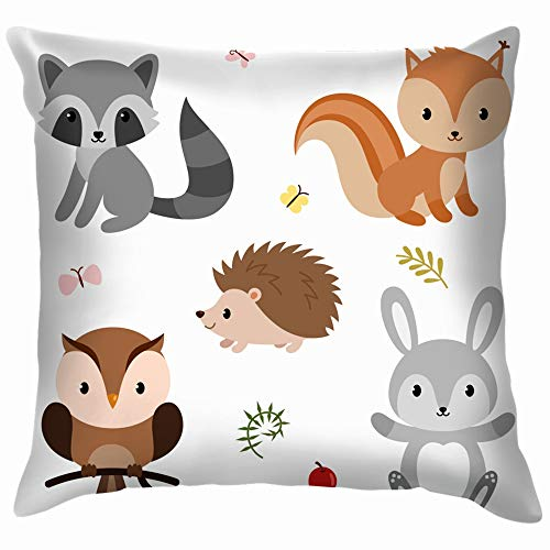 beautiful& Woodland Animals Decor Elements Set Wildlife Forest Soft Cotton Linen Cushion Cover Pillowcases Throw Pillow Decor Pillow Case Home Decor 18X18 Inch