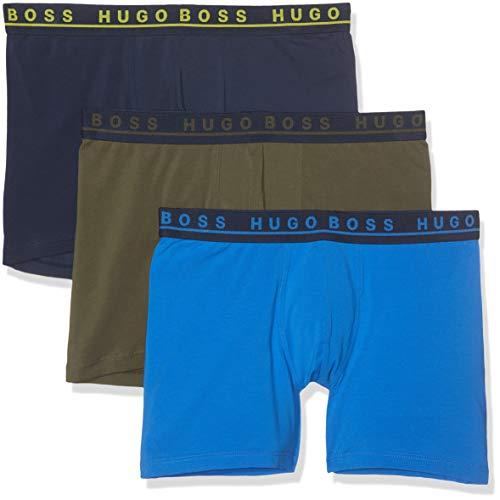 BOSS Herren Boxer Brief 3P CO/EL Boxershorts, Mehrfarbig (Open Miscellaneous 987), Large (3er Pack)