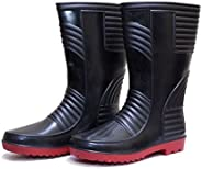Hillson TC07HLS0177_Size 6_BR Welsafe Safety Gumboots with Lining, Black/Red, Size UK 6