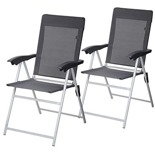 SONGMICS Gartenstuhl, 2er-Set, klappbar, Klappstuhl mit Armlehnen, komfortabler Sitz, hoch belastbar, verstellbar, bis 150 kg belastbar, Outdoor Stuhl, grau GCB03GY -