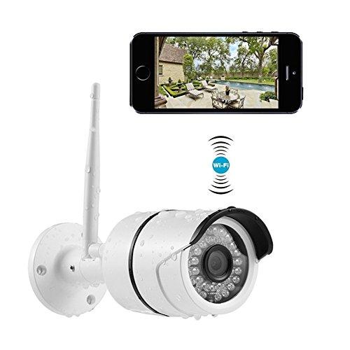 Cámaras de Vigilancia Exterior, 720P Cámara IP WiFi de Exterior Impermeable IP66 Tiene Detección de Movimiento, Cámara de Seguridad con La Visión Nocturna Compatible con Smartphones iOS y Android