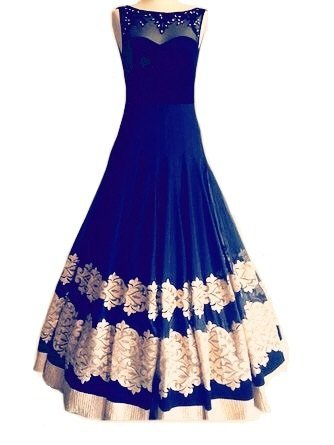 Royal Export Women\'s BlueGeorgette Party Wear Gown (Blue)