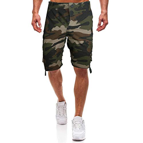 Cargo Shorts Herren Chino Kurze Hose Sommer Bermuda Sport Jogging Training Stretch Shorts Fitness Vintage Regular Fit Sweatpants Baumwolle Qmber Lose Hose Mehreren Taschen Blau Grün Braun(Green,34)