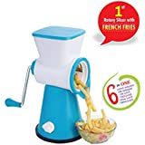 DarkPyro's 6 In 1 Vegetable Grater Mandoline Slicer, Rotary Drum Fruit Cutter Cheese Shredder Thick And Thin Slicer And First Time In India With French Fries Cutter With 6 Stainless Steel Rotary Blades(1 Unit 1 Drum With Interchangeable Blades )