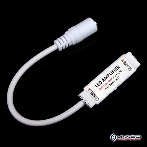 LinkSquare Super Mini DC 5V / 12V / 24V 12A 288W Verstärker Amplifier + DC Männlich Stecker Adapter für 5050 3528 RGB SMD LED Flexibel Lampe Licht Fee Strip Streifen Band Leiste Beleuchtungsstreifen
