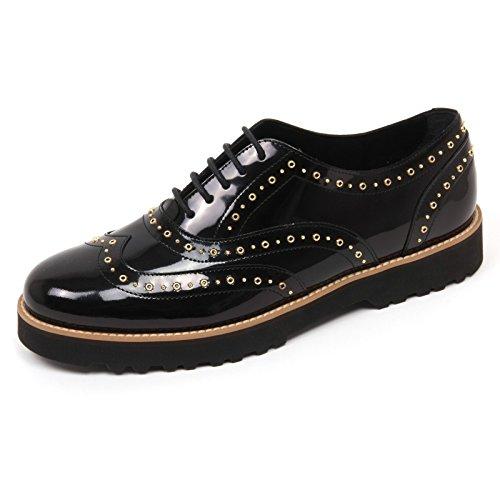 C8010 scarpa donna HOGAN H259 route francesina nero borchie shoe woman Nero