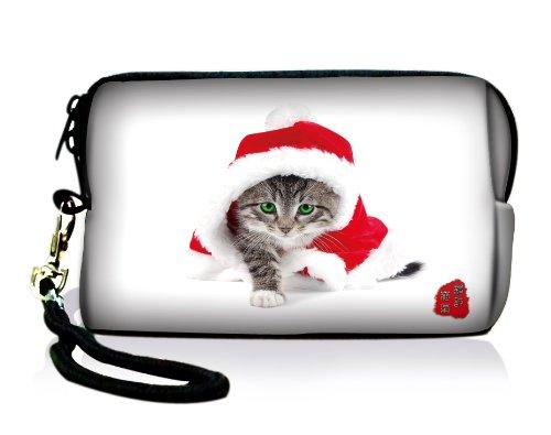 Luxburg Design bolsa de cámara funda maletín para cámara digital compacta, motivo: Gato navideño