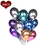 Luftballons Metallic Bunt, 12' 50 Stück Metallic Ballons in 6 Metallicfarben( Metallic Rot, Grün, Blau, Silber, Gold und Lila), Metallic Luftballons Helium Balloons für Geburtstag, Hochzeit, Vintage