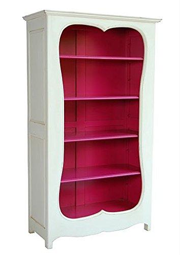 Casa Padrino Barock Bücherschrank Weiss / Pink B 110 x H 185 cm Bücherregal Regal Schrank