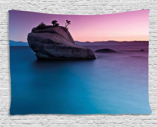 ABAKUHAUS Exotisch Wandteppich, Bonsai Rock Lake Tahoe, Wohnzimmer Schlafzimmer Heim Seidiges Satin Wandteppich, 150 x 100 cm, Lila grau Blau - Tahoe Schlafzimmer