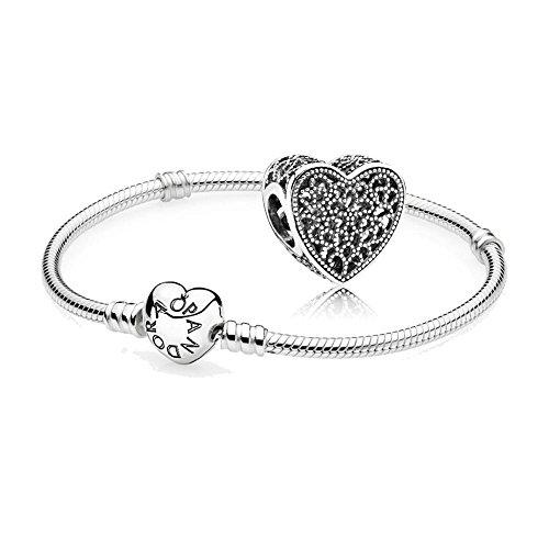 Pandora Original Geschenkset - 1 Silber Armband 590719-18 mit Herz Schließe + 1 Silber Charm 791811 Ewige Liebe