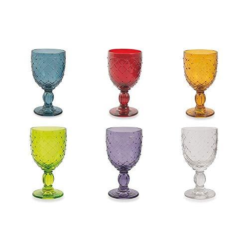 Villa d'este home tivoli rombi set 6 calici da vino, vetro, colori assortiti