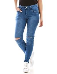 La Modeuse - Jeans délavé et troué aux genoux