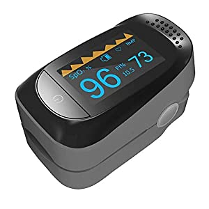 Fingerpulsoximeter Pulsmesser Blutsauerstoffsättigung SpO2 Sensor LED Anzeige, Mit Lanyard, Batterie Enthalten