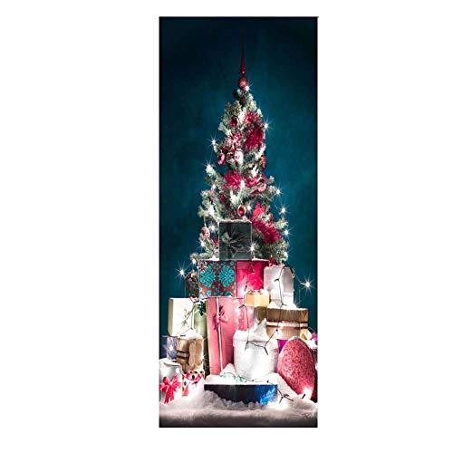 HEDDK Weihnachten Türposter Selbstklebend Tür Wandbilder Wandaufkleber Selbstklebende 3D Weihnachtsbaum Glas Fenster Aufkleber Holztür Abnehmbare Kühlschrank Aufkleber Wasserdicht Aufkleber Art Decor