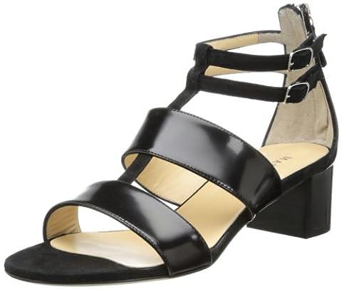 Marvin K Women's Nola Dress Sandal,Black Polished Calf Suede,8 M