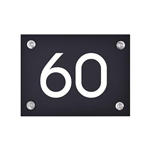Hausnummer Schild 60 aus Acryl, Hausnummernschild in schwarz, mit weißer Schrift inkl. (Zubehör Sechziger)