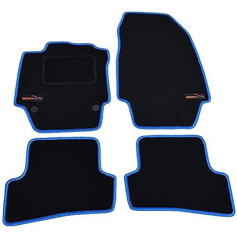 Tapis de voiture tapis de voiture experts 38002VL Pied avec maillage (Bleu) Livré avec fixations et logo 4pièces
