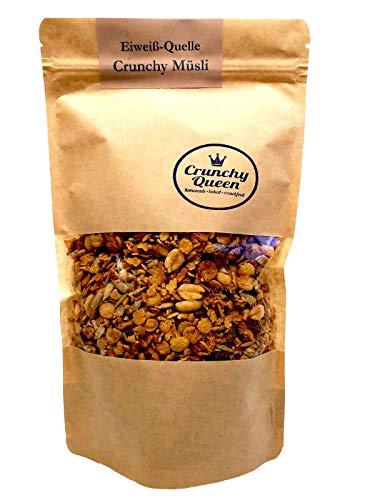 Crunchy Queen handgemachtes Eiweiß-Quelle Knusper-Müsli 340g, Protein Müsli ohne Zusatz von raffiniertem Zucker (33% pflanzliches Eiweiß)
