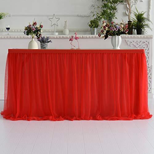 HBBMAGIC Tüll Tischrock Rot Tischdecke Tütü Tischröcke Party Deko Für Hochzeit, Geburtstag, Candy Bar, Weihnachten(Rot, 183cm*76cm)