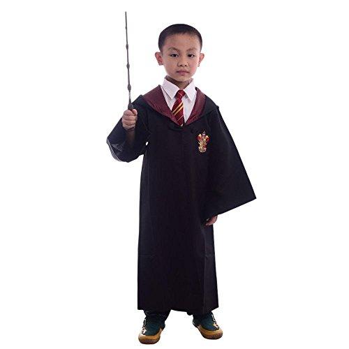 Zauberer Robe mit Wappen für KINDER Umhang Mantel Jungen Mädchen Kinder-Kostüm, Größe:115