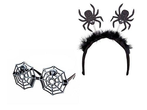 2tlg Halloween Kostüm Haarreif Grusel Outfit Hexe Spinne Brille Kopfschmuck KV-92 von Alsino