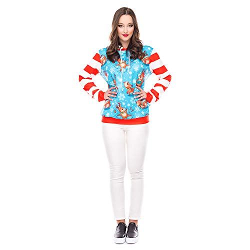 Hoodie-Weihnachtsdruck-Beiläufiges Sport-Sweatshirt, Drawstring Mit Kapuze Lose Lange Hülsen-Sweatshirt,XL