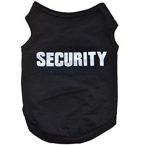 X Kleiner Hund schwarz Security T-Shirt Puppy Weste Top 40cm Brust 32cm Hals und 29cm Länge