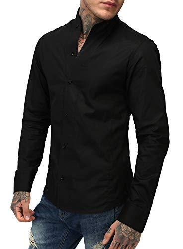 Rerock Herren Stehkragen Hemd Slimfit Uni tailliert langarm einfarbig Party  Club Freizeit , Grösse L Farbe Schwarz 13dd57cc44