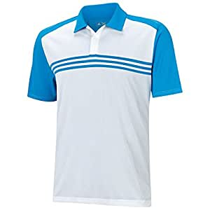 2015 Adidas Climacool Sport Classic 3-Stripes Mens Golf Polo Shirt White/Bright Blue Small