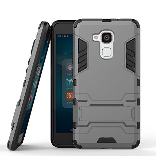 Handyhülle Huawei Honor 5c Hülle Schale Tasche, Ougger Schutz Stoßdämpfung [Kickstand] Leicht Hülle Schutz Schönhülle Hart PC + Soft TPU Gummi Haut 2in1 Gear Rear für Huawei Honor 5c Grau