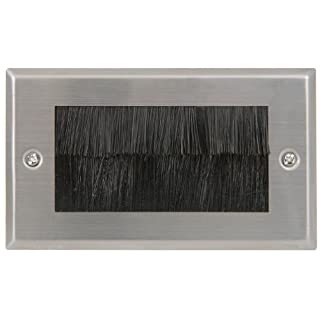 AV:Link Entry/Exit Wall Outlet UK Double Gang Faceplate Brush for Steel Cable