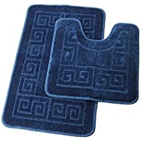 Homcomoda de salle de bain contour Tapis de tapis de bain/douche lavable avec tapis de WC en forme de U pour salle de bain absorbant antidérapant Polypropylène Fibre de bain Tapis de sol