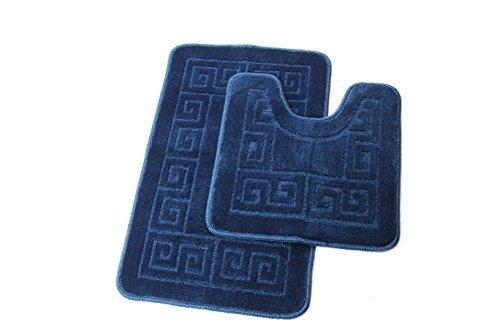 Chenille-2 Stück (Homcomodar Badematten Set 2 Stück Chenille Waschbare Badteppich Set mit U-förmig Toilette Badvorleger für Badezimmer (Marine blau))