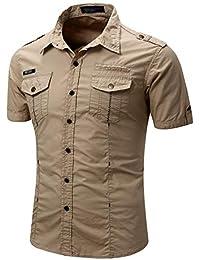 961b3c33a2 Camisa de Vestir con Botones de Manga Larga Camisa Casual de Hombre Slim  Fit Camisa de Manga Corta al Aire Libre Camisas de Trabajo…