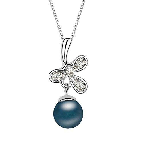 Daesar Schmuck Damenkette Vergoldet Perle Blume Synthetische Kristall Halskette Zirkonia Halskette Anhänger