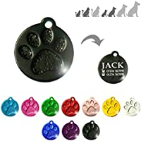 Iberiagifts - Round paw Pet Tag For Small/Medium Pets, For Dogs And Cats, Engraved And Personalised (Black)