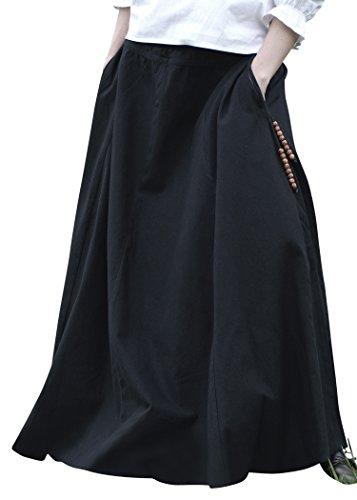 Battle-Merchant Mittelalterlicher Rock, weit ausgestellt, div Farben S-XXL - Mittelalter Kleidung Magd - Wikinger LARP Damen lang (Schwarz, L)