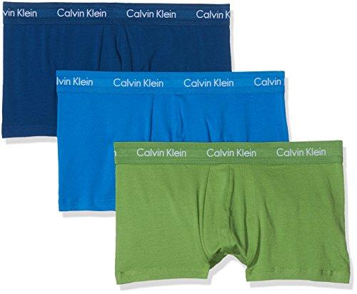 Calvin Klein Herren Boxershorts Cotton Stretch 3P LOW RISE TRUNK Ohne Eingriff-3-Pack TRUNK Ohne Eingriff, Blau (C-Dream Blue/Nanday Green/Ori Nyo), L (Jersey Trunk)