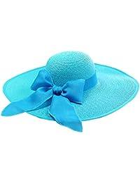 Sombrero plegable de paja con borde ancho para las mujeres Sombrero de la  playa del verano 0393db38040a