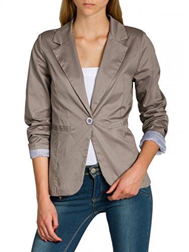 CASPAR BZR003 Damen Leichter eleganter Sommer Blazer Damenblazer 3/4 Arm/Slim Fit, Farbe:Taupe;Größe:36 S UK8 US6 - Taupe Blazer Jacke