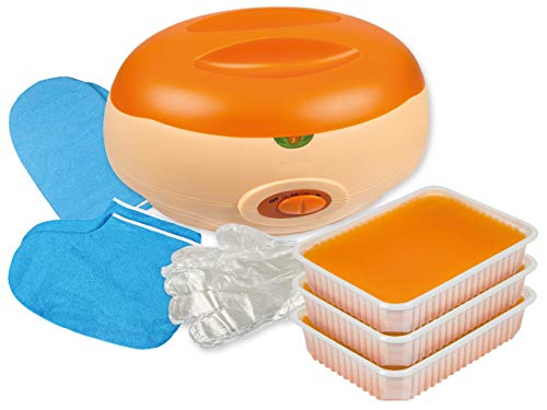 PREMIUM-SET - PARAFFINBAD für Hände und Füße + 3 x 400g PARAFFINWACHS Orangenduft und Zubehör