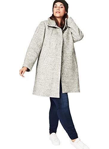 Zizzi Damen Mantel Jacke Lange Warmer Wollmantel, Große Größen 42-56 (Size Wolle Plus Mischung Mäntel)