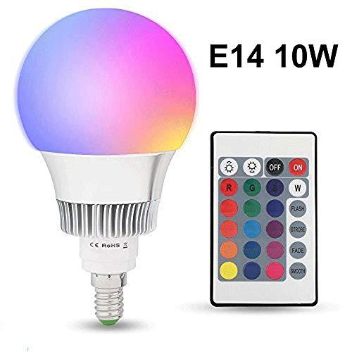 LED RGB Lampe E14 10W mit Fernbedienung Dimmbar, (16 Farben) Farbwechsel LED Birne Edison Glühbirne Leuchtmittel für Haus Dekoration, Bar, Party, KTV Bühne, Feiertag, Bettlampe (10 W Led Rgb)