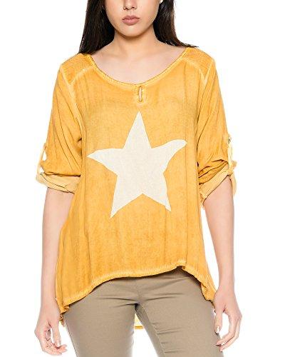FreyFashion - Made in Italy Damenshirt Top Bluse Longshirt Sommertop mit  Stern und Pailletten S/
